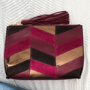 NWOT Sam Edelman patchwork leather/suede clutch.
